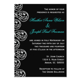 Paisley Black and White Wedding Invitation
