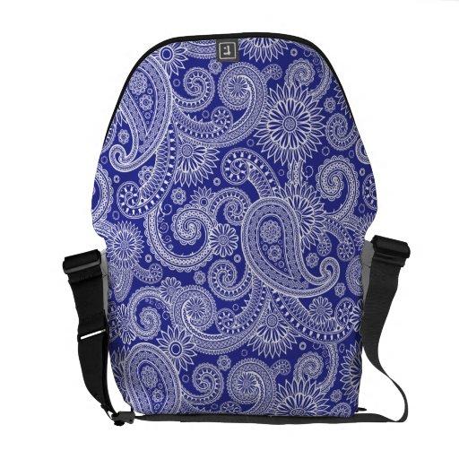 Paisley blanca y azul floral bolsas messenger