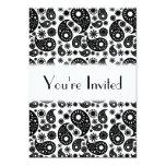 Paisley blanco y negro invitación 12,7 x 17,8 cm