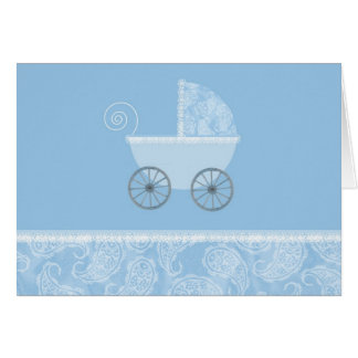 Paisley Blue Carriage Stationery Note Card