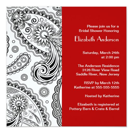 Paisley Bridal Shower Invitation Black & Red