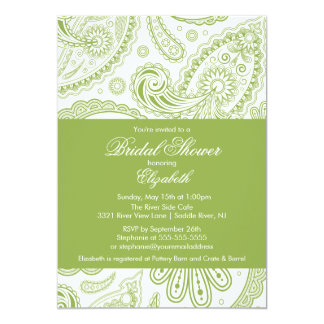 Paisley Bridal Shower Invitation Chartreuse Green