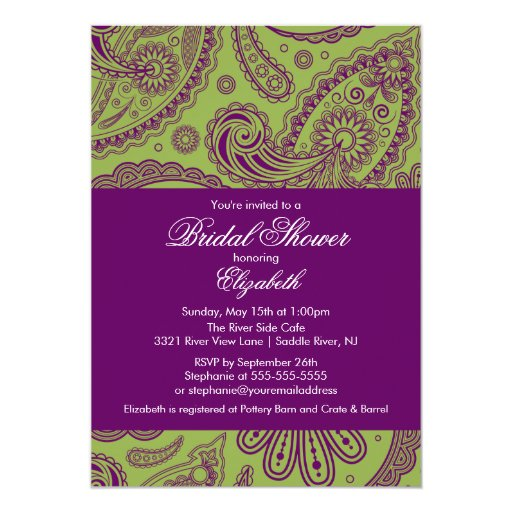 Paisley Bridal Shower Invitation Chartreuse Purple