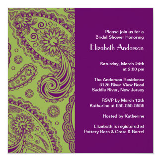 Paisley Bridal Shower Invitation Purple & Green