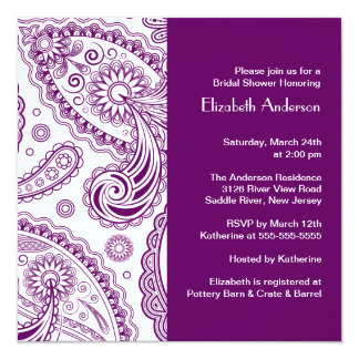Paisley Bridal Shower Invitation Purple & White