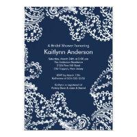Paisley Bridal Shower Invitation White & Navy Blue