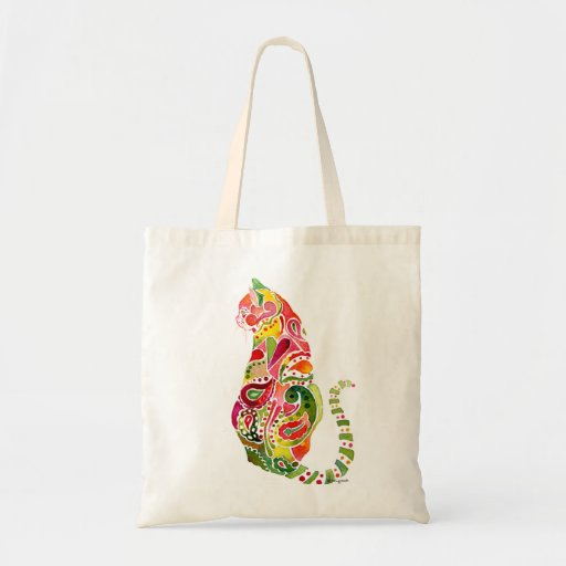Paisley Cat Canvas Tote Bag