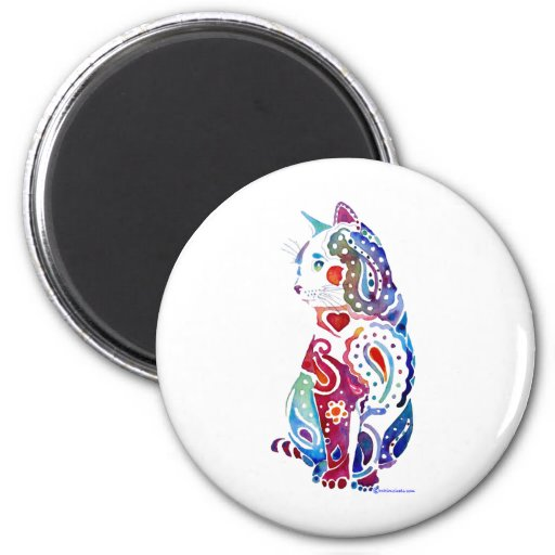 Paisley Cat Designs 2 Inch Round Magnet