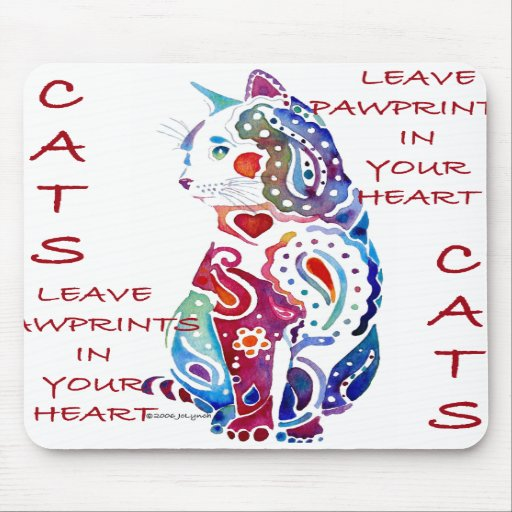 Paisley Cat in Blue & Purple Mouse Pads