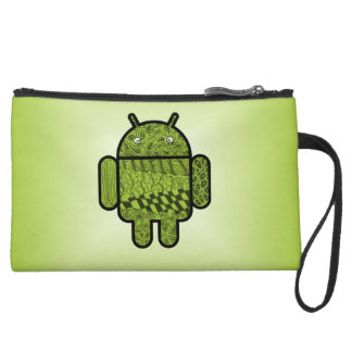 Paisley Character for the Android™ Robot Suede Wristlet Wallet
