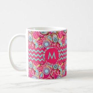 Paisley Chevron Monogram Pink Coffee Mug