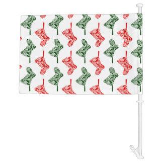 Paisley Christmas Stockings Car Flag