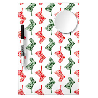 Paisley Christmas Stockings Dry Erase Board With Mirror
