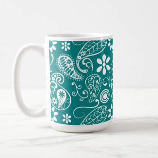 Paisley ciánica oscura; Floral Taza Clásica