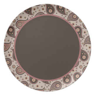 Paisley Collection Plates-Mauve n Brown-Brown