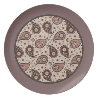 Paisley Collection Plates-Mauve n Brown-Mauve