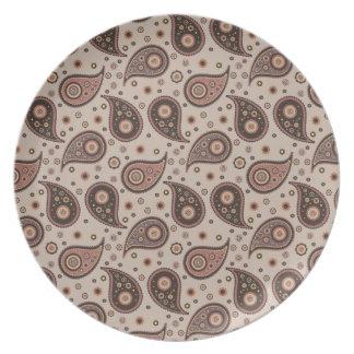 Paisley Collection Plates-Mauve n Brown-Paisley
