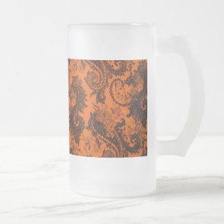 Paisley coloreada intrépida - naranja y negro tazas