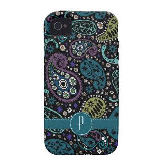 Paisley coloreada pavo real bonito con el Case-Mate iPhone 4 funda