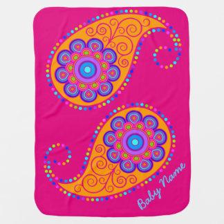 Paisley colorida brillante mantitas para bebé