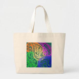 Paisley Colors Large Tote Bag