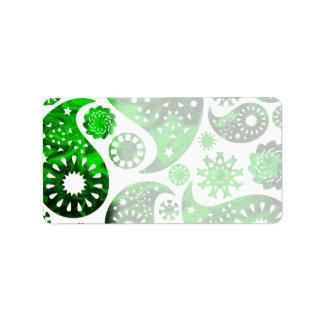 Paisley con el modelo verde del remolino etiquetas de dirección