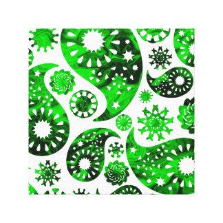 Paisley con el modelo verde del remolino lienzo envuelto para galerias