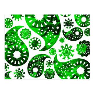 Paisley con el modelo verde del remolino tarjeta postal