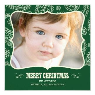 "Paisley Cowboy Christmas Photo Cards 5.25"" Square Invitation Card"