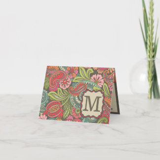 Paisley Cyngalese Monogram Note Card