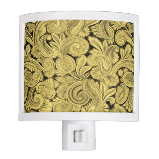 Paisley Cyngalese Ornamental Motif Golden Yellow Night Light