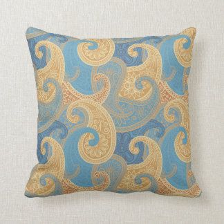 Paisley Damask Pillow - Blue/Cream - 1