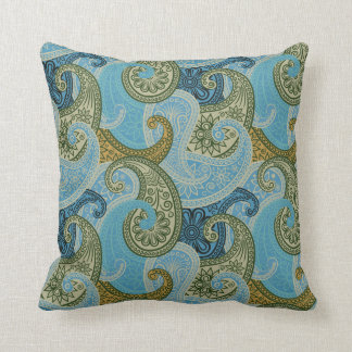 Paisley Damask Pillow - Blue/Green - 2