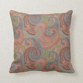 Paisley Damask Pillow - Chocolate/Blue - 1