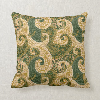 Paisley Damask Pillow - Gold/Green - 2