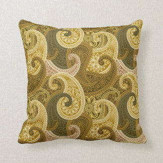 Paisley Damask Pillow - Gold/Green - 3