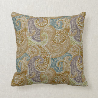 Paisley Damask Pillow - Olive/Blue - 1