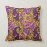 Paisley Damask Pillow - Purple/Gold - 1