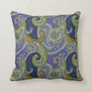 Paisley Damask Pillow - Purple/Green - 1