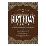 Paisley Dark Brown Birthday Party Invitations