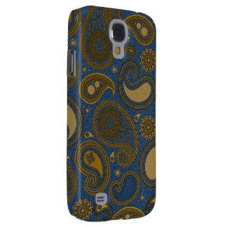 Paisley de color caqui en el adorno azul de Jean Funda Para Galaxy S4