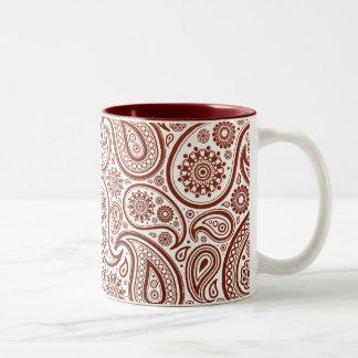 Paisley de color rojo oscuro en el fondo blanco tazas de café