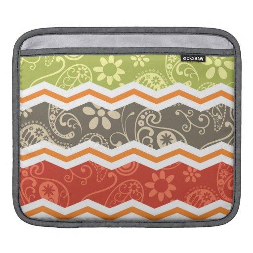 Paisley de color topo, roja, verde, y anaranjada C Fundas Para iPads