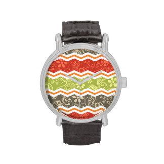 Paisley de color topo, roja, verde, y anaranjada C Reloj
