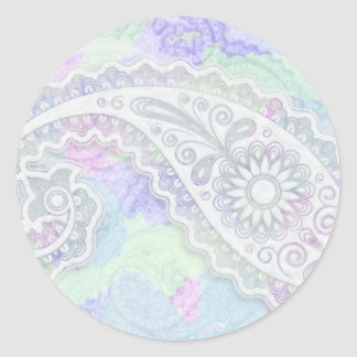 Paisley de encaje dulce pegatina redonda