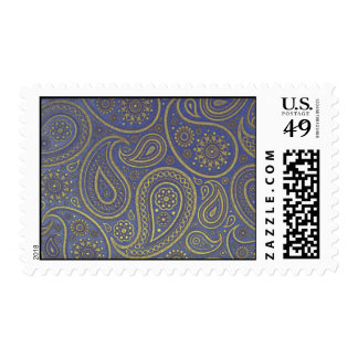 Paisley de oro en sello azul