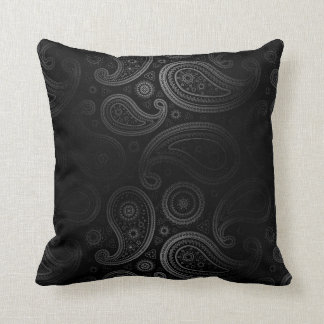 Paisley Deluxe | black charcoal Throw Pillow
