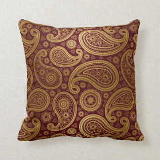 Paisley Deluxe   burgundy gold Throw Pillow