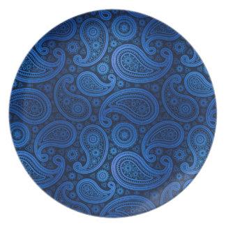Paisley Deluxe   cobalt blue Party Plates