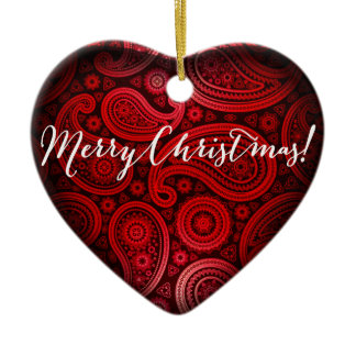 Paisley Deluxe Merry Christmas Heart | red Ceramic Ornament